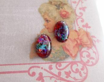 Opal Stud West Germany Earrings