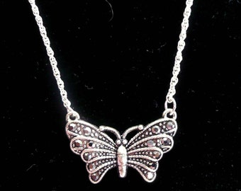 Butterfly Necklace Marcasite Classy and Elegant Vintage