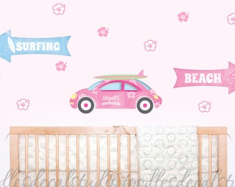 Beach Surf Ocean Sign Fabric Kids Wall Decals Stickers - not vinyl