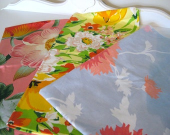 Vintage Fabric Lot - Bright Floral Cotton Sample Bundle - 3 Large Pieces - Retro Sewing Material - Craft Supply