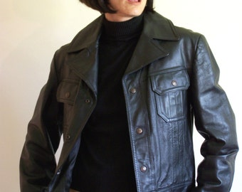 Vintage 70s Black Leather Short Jacket Metal Snap Button Up  - Marquis of London