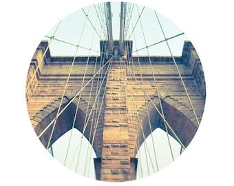 Brooklyn Bridge photo, geometric, New York City photography, NYC landmark, neo-gothic architecture, retro, beige aqua decor