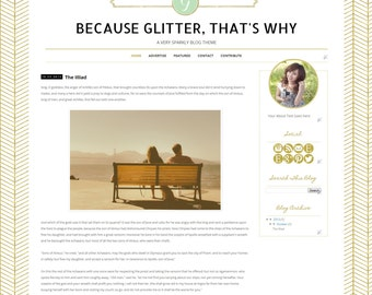 Glitter Blogger Template - Gold Chevron Blogger Blog Theme  - Clean Whimsical Blog Design Woodland Blogger Template Forest