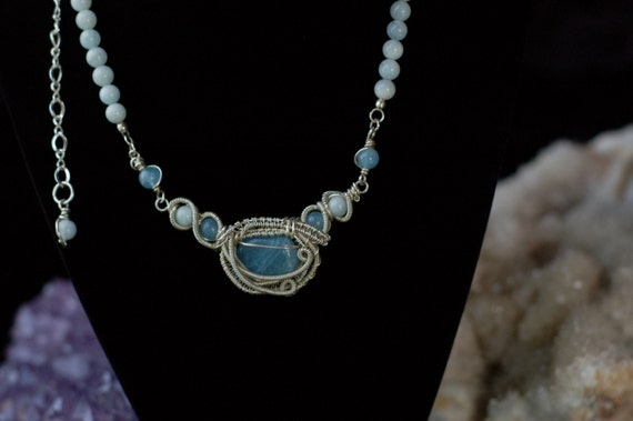 Aquamarine Necklace in Sterling Silver / Wire Wrapped Necklace / Statement Jewelry / Intricate Art Jewelry / Gemstone Necklace