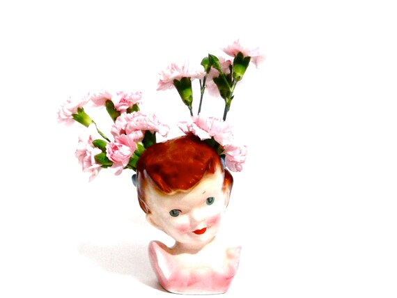 Vintage Head Vase Little Girl Red Hair Double Flower Holder
