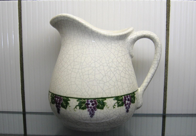 Dedham Pottery Grapevine Pitcher Crackle Glaze Potting Shed