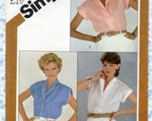 Simplicity 5451 Misses Shirt, Blouse Pattern Size 12 UNCUT, Button front Short cap sleeves Shawl collar Vintage Womens Sewing Patterns