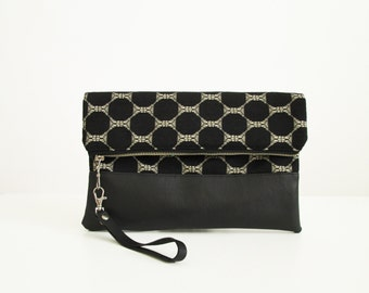 Clutch purse, Fold over, Monochrome pattern, black and white, Clutch, Evening bag, Geometric