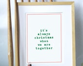 Christmas Print . Christmas quote print, very sweet and christmassy in red and blue makes a lovely Christmas present
