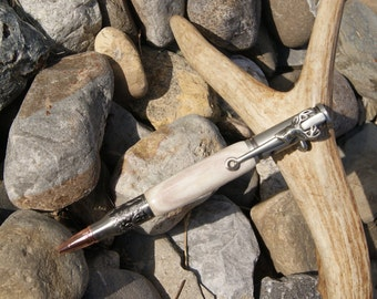 Engraved Bolt Action Bullet Pen in Antique Pewter with Deer Antler Handle and Deer Clip - Laser Engraving Available