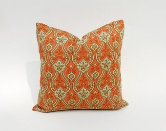 Eastern Inspired Orange Pillow Cover, Orange, Gold, Soft-Green Many Sizes Squares & Lumbar 12 x 18, 18 x 18, 22 x 22