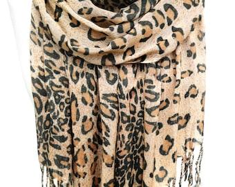 Leopard Scarf. Animal Print Shawl. Gift for Her. Soft Fringed Scarf. Woman Scarf. 25x70 in. (65x180 cm). Ready2Ship.
