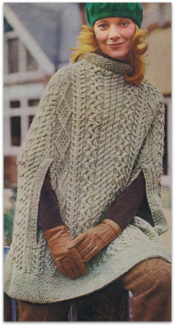 Irish Aran Cape Pattern Womens Winter Cape Digital