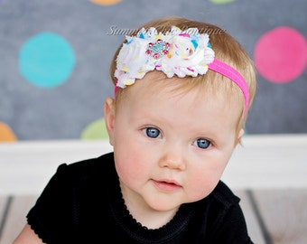 Baby Headband, Infant Headband, Newborn Headband - Shabby Chic Headband, Polka Dot Rosettes on Pink Fold Over Elastic
