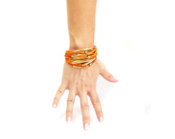 Charm string bracelet, Stacked Boho Bracelet, Orange Gold Layered Bracelet, Multi Strand Bracelet, Adjustable