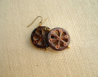 Leather Earrings, Dark Brown Leather and Brass, Boho Earring, Bohemian Jewelry, Western Earring, Tooled Leather