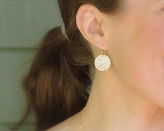 Rustic 14K Gold Disc Earrings - Textured Gold, Hammered Gold Circle , Everyday Jewelry, Bridesmaids Gift, Large
