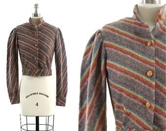 vintage 80s cropped jacket / striped short jacket / puff shoulder jacket XS/S