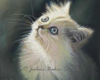 White Cat Art - Cat Lover - Cat Decor - White Kitten Art