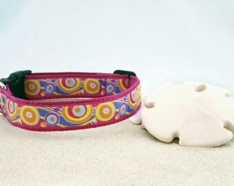 """Pink, Orange, Lavender Swirls Spring Summer Dog Collar, 1"""" Wide"""