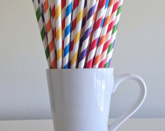 Rainbow Paper Straws Red, Orange, Yellow, Green, Blue, and Purple Striped Party Supplies Party Decor Bar Cart Cake Pop Sticks Graduation