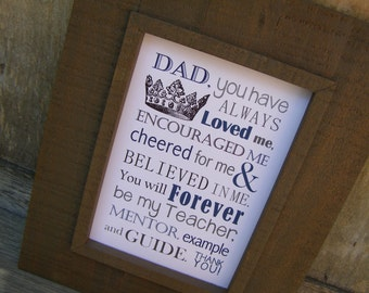 Fathers Day Gift. Dad Poem. Print and Pop into any frame. DIY Instant Download Print from Home. Dad Birthday Gift. Gift for Dad