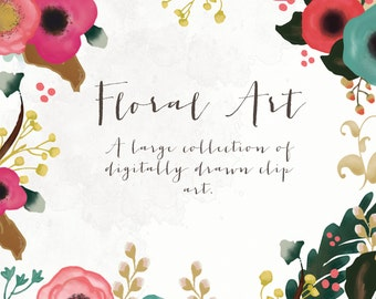Clipart - Floral Art Collection - Digitally Drawn Art