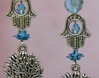 Tree of life earrings. Hamsa earrings. Tree of life and hamsa blue crystals earrings. Kabbalah earrings.