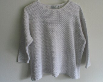 90s Open Knit 3/4 Sleeve Sweater White Chunky Knit