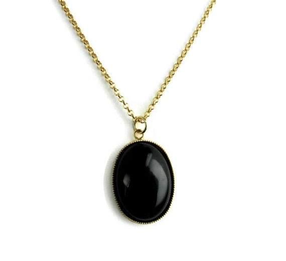 black onyx necklace black onyx pendant by marisadianedesigns