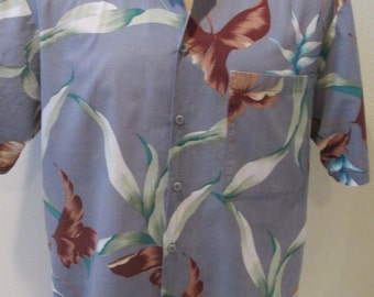 Gray Tropical Hawaiian 90's  Shirt By Hawaii Blues Men's Size L