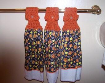 Hallloween Pumpkins, Candy Corn and Stars Tea Towels