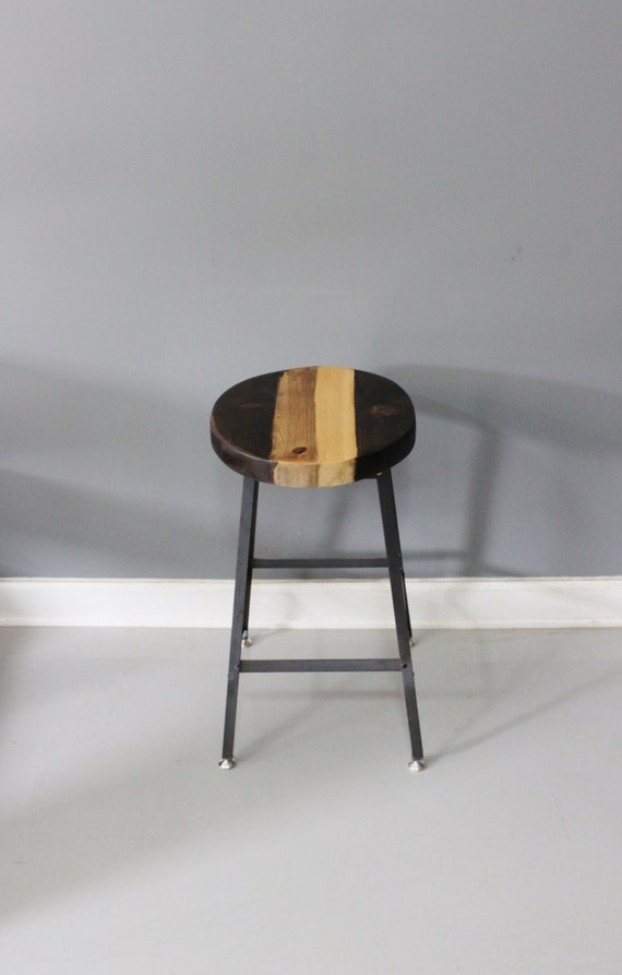 Round Top Reclaimed Wood Bar Stool with Industrial by DendroCo : il570xN608005179ff6q from www.etsy.com size 570 x 893 jpeg 36kB