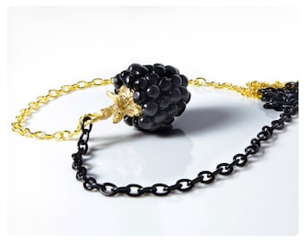 "Blackberry pendant ""SMALL BLACKBERRY"" — with gold and black chain"