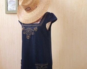Vintage denim boho dress-Summer boho dress-Vintage floral embroidered denim dress-vintage denim dress
