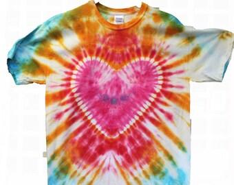 FREE SHIPPING Heart Tie Dye Shirt - Short Sleeve - Custom Colors - 100% Cotton