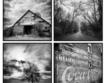 Indiana Photo | Vintage Coke Ad | Old Barn Art | Country Road Photo | Tree photo | Midwestern Photo | Indiana Print Set |  Black White Photo
