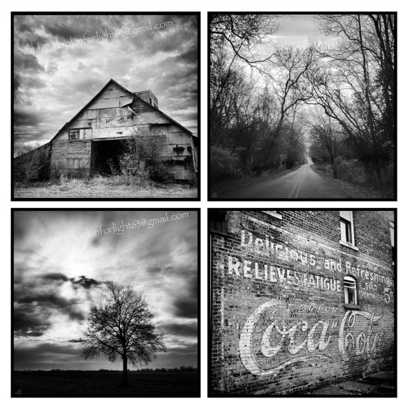 Indiana Photo, Vintage Coke Ad, Old Barn Art, Country Road Photo, Tree photo, Midwestern Photography, Indiana Photo Set / Black White Photos