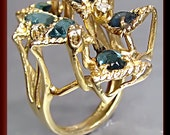 Antique Vintage 1960's Funky 14K Yellow Gold Green Tourmaline Cocktail Ring