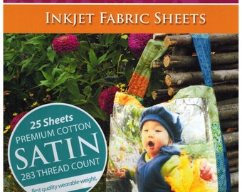 25 Sheet Pack EQ Printables Premium Cotton Satin Inkjet Printer Fabric Sheets sku9115