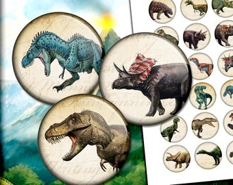 "Dinosaurs Circle Images 1 inch, 25mm, 30mm 1.313"" 1.5""Printable Images for Bottlecaps, Glass Pendants Digital Collage Sheet Instant Download"
