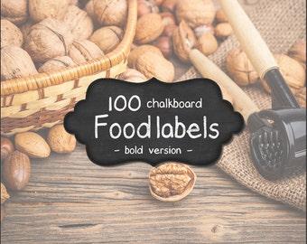 100 CHALKBOARD FOOD LABELS + Limited Free Bonus - Bold font - Printable Kitchen and Pantry Organization -  Instant download