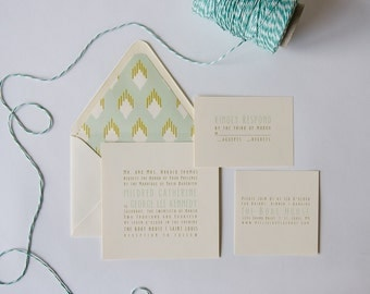 Millie Wedding Invitation  /  Modern Ikat  /  Sample Set