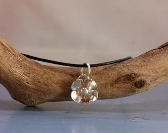 Sterling Silver Flower Pendant  - Handmade -