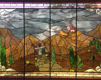 Custom Stained Glass Window, with etching Luke 24:29 (Religious Stained Glass Window) by Stained Glass Sundays