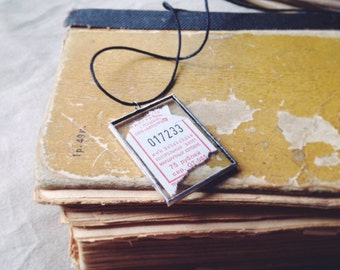 Lucky ticket necklace 50x35x5mm hand crafted glass pendant with lucky public transport ticket inside