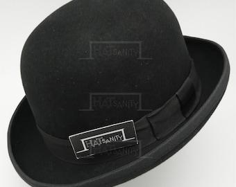 VINTAGE Wool Felt Formal Tuxedo DURA BOWLER Top Hat - Black
