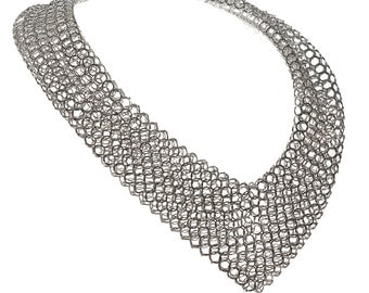 Silver chainmaille statement necklace. Ewin chain tube necklace
