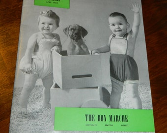 Vintage Advertising Magazine from April 1953 MY BABY Bon Marche / Baby Magazine 1950s with 56 Pages Cute Babies and Baby Products from 1950s