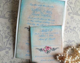 Vintage Romantic Wedding Invitation Suite Handmade by avintageobsession on etsy